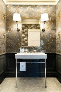 exceptional Contemporary Kitchen Design Ideas #7: Dressing-room-wallpaper-ideas-powder-room-traditional-with-fish-scale-faux-bamboo-sophisticated-palette.jpg