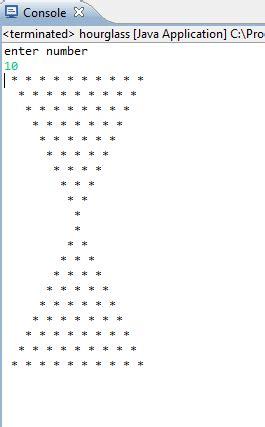 Java Pattern Hourglass | creating an hourglass using asterisk pikesteward blog