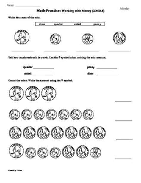 2nd grade math common worksheets 2 md 8 money 2nd grade common math worksheets 1st 9 weeks