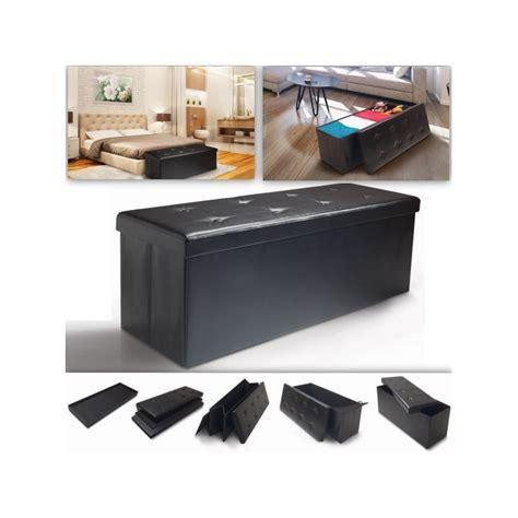 banc coffre rangement pvc noir 76x38x38 cm pliable meubles