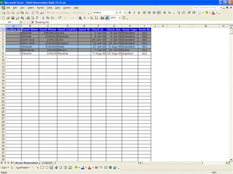 hotel reservation system template excel spreadsheet booking system spreadsheet downloa excel