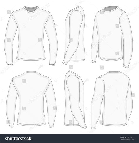 All Six Views Mens White Long Stock Vector 177518183 Shutterstock Sleeve Shirt Design Template