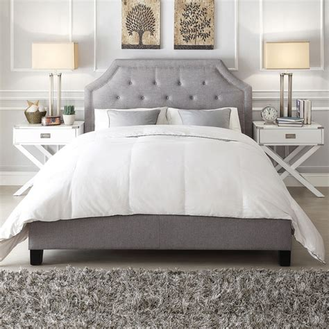 overstock upholstered bed inspire q grace grey linen button tufted arched bridge
