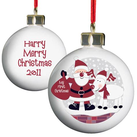 personalised christmas bauble baby s first christmas