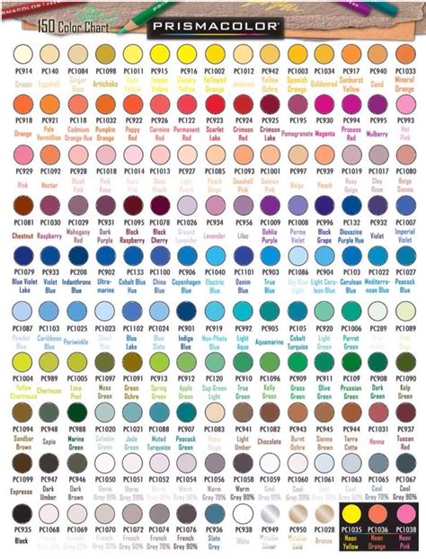 prismacolor marker color chart prismacolor premier colored pencil color chart