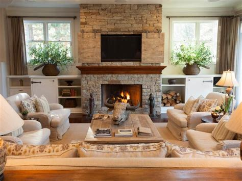 transitional neutral living room  rustic accents