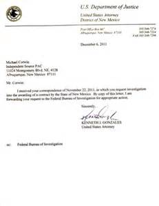 us attorney letter forwarding request for investigation to