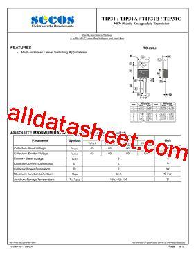 transistor tip31c datasheet tip31c datasheet pdf secos halbleitertechnologie gmbh