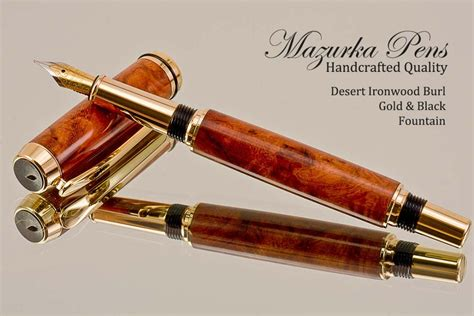 Handmade Pencils - handmade pen desert ironwood gold black finish