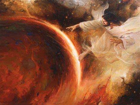 his image jehovah creates the earth jesus creates the earth