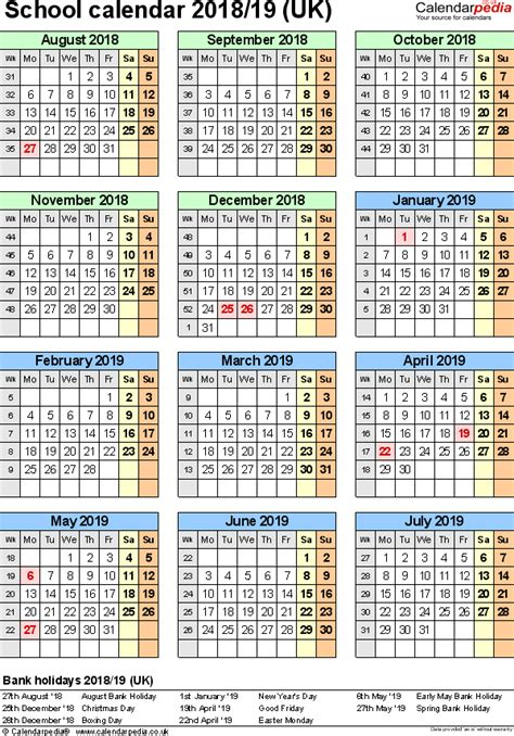 2018 19 School Calendar Template Word school calendars 2018 2019 as free printable word templates