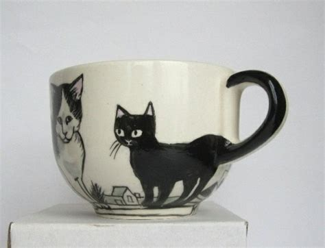 Lefranc Bourgeois Ceramic Paint Cat Keramik cups painting for a cheerful mood at the coffee hum ideas
