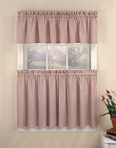 Ticking stripe 3 piece kitchen curtain tier set curtainworks com