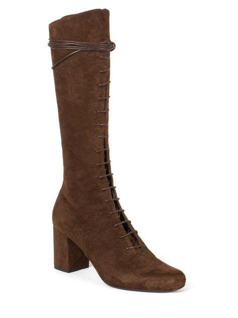 laurent suede lace up knee high boots in brown lyst
