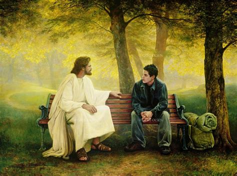 jesus on bench dreaming in white lost and found