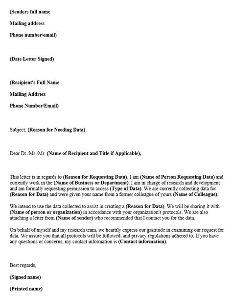 permission request letter data collection research