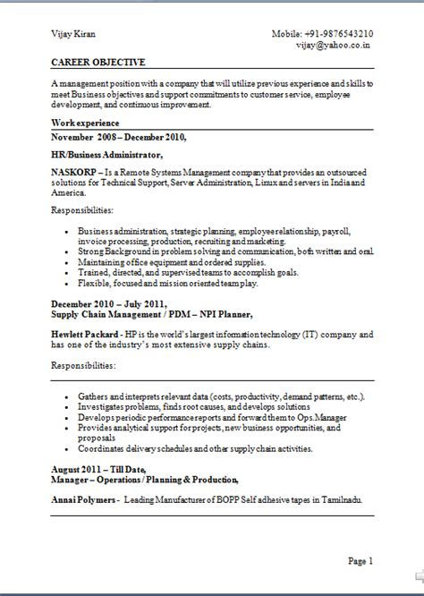 Sample Hr Resume For Experienced by Taper Un Cv
