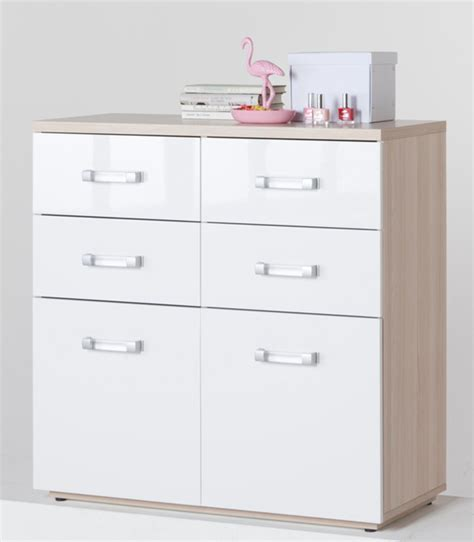 commode 6 tiroirs calisma frene clair blanc brillant