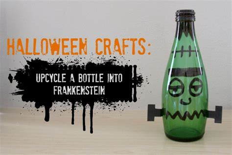 fast easy halloween decorations recycled materials halloween crafts upcycle a bottle into frankenstein