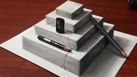How To Make 3d Sketch On Paper - how to make a 3d concrete pyramid pencil drawing