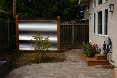 backyard landscaping corrugated metal and redwood tool