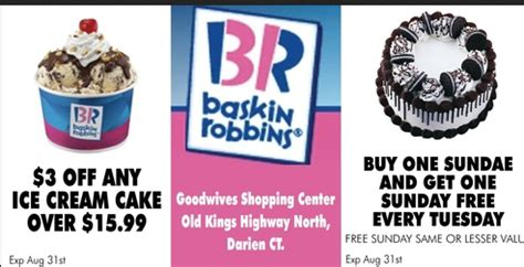 Deals Buy One Sundae Get One Free by Performance Codes In Store Coupon Baskin Robbins 3