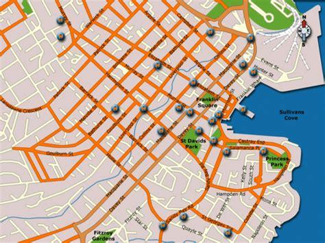 map of hobart city hobart hotel map hobart australia mappery