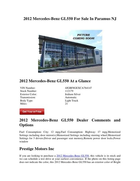 Used Mercedes For Sale In Nj by 2012 Mercedes Gl550 For Sale In Paramus Nj