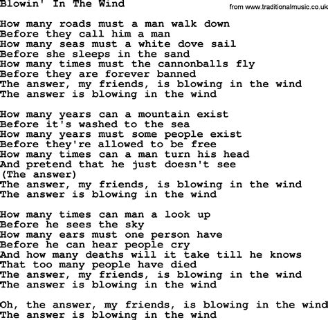 bob blowin in the wind testo joan baez song blowin in the wind lyrics