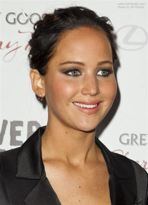 Jennifer Lawrence   Dark brown hair in a bun to enjoy the