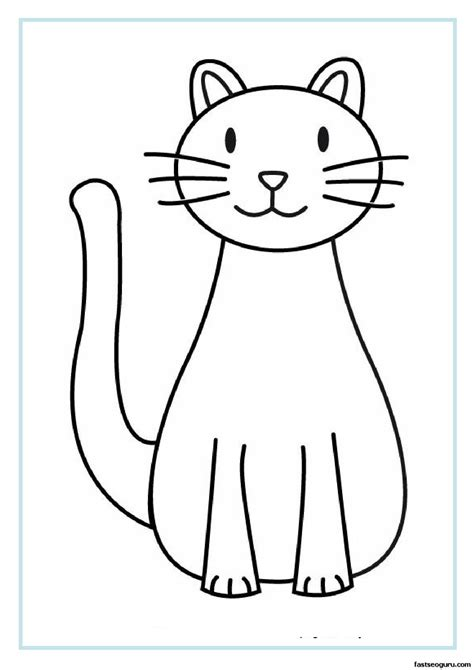 free cat outline coloring pages