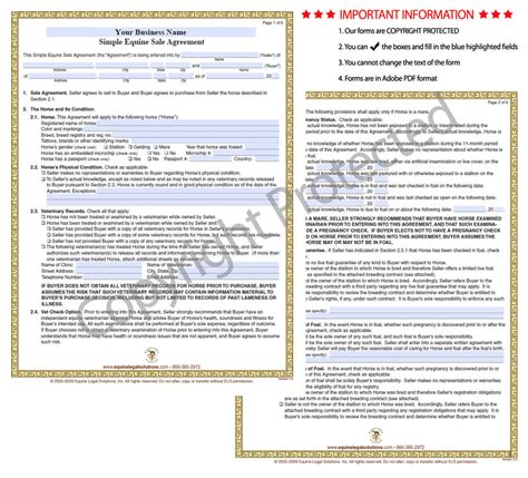 horse sale agreement template equine legal solutions whats