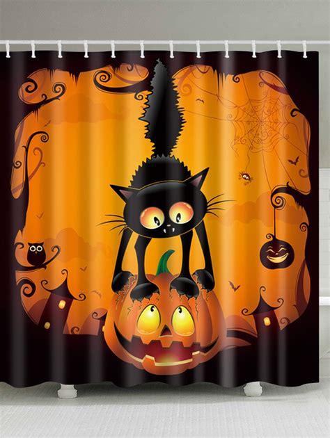 pumpkin shower curtain halloween pumpkin cat print waterproof fabric shower