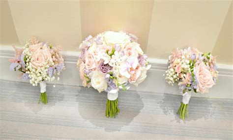 Bridesmaid Bouquets by Pink Lilac White Stephanotis Orchids Bridal Bouquet