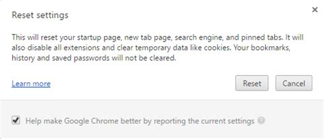 reset chrome online reset chrome browser to the default settings