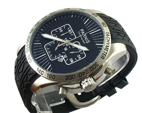 parnis 50mm mens black stainless steel