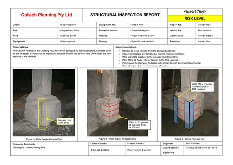 engineering inspection report template structural integrity inspection coltech planning pty ltd