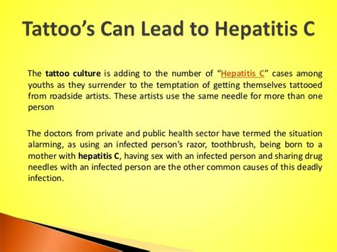 hepatitis c tattoo can lead to hepatitis c