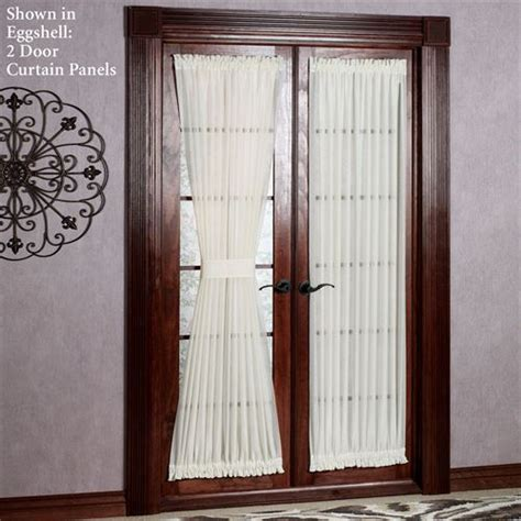 reverie snow voile semi sheer door panels Sheer Patio Door Curtains
