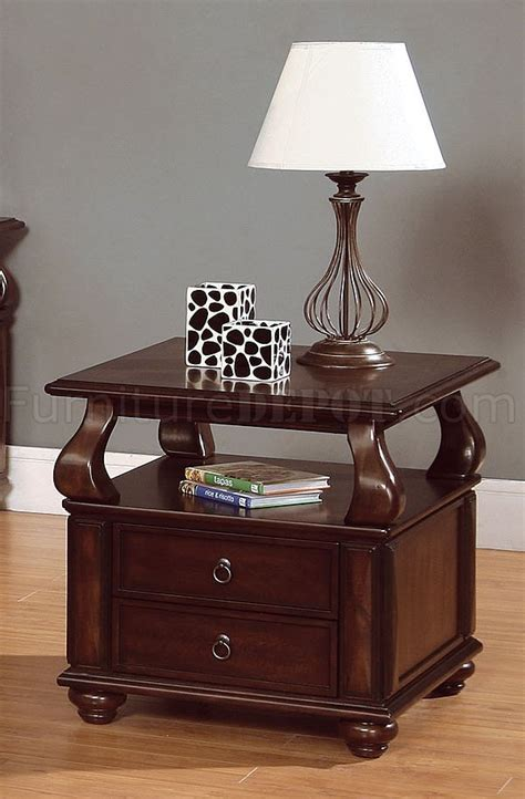 Cherry Coffee Table With Storage Rich Brown Cherry Finish Cocktail Table W Drawer Storage