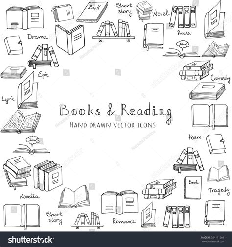 doodle and book royalty free doodle books and reading set