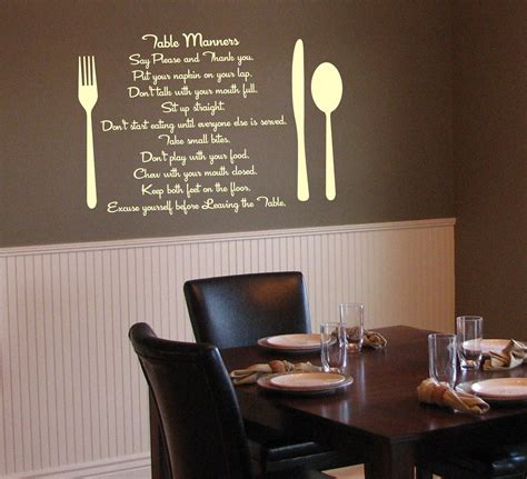 Wall Decals For Dining Room with Items Similar To Table Manners Kitchen Or Dining Room Vinyl Wall Decals For Your Home Vinyl
