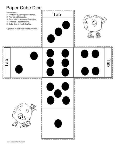 printable dice pdf make a paper cube dice games activities pinterest