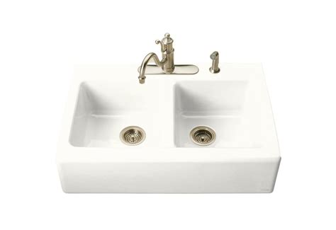 kohler hawthorne tm apron front tile in kitchen sink in