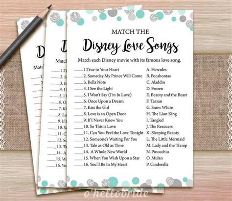 free printable disney bridal shower games disney love songs bridal shower game printable mint