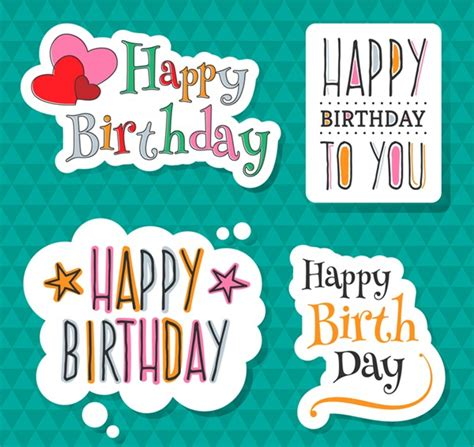 Stickers For Birthday Cards 4 Happy Birthday Sticker Vector Graphics My Free