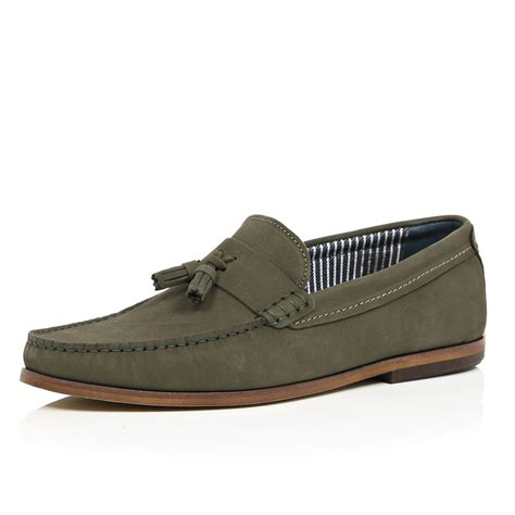 green mens loafers river island green nubuck leather tassel loafers in