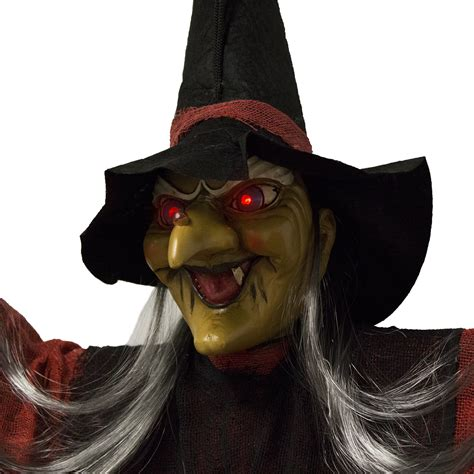 light up halloween decorations scary flashing howling light up led hanging witch figure
