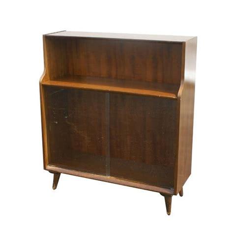 vintage mid century modern retros 60s sliding door floating cone leg mid century modern style walnut bookcase cabinet 60s