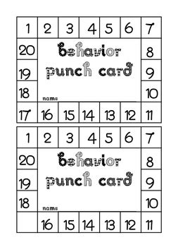 punch card template pdf behavior punch card no picture by teachers